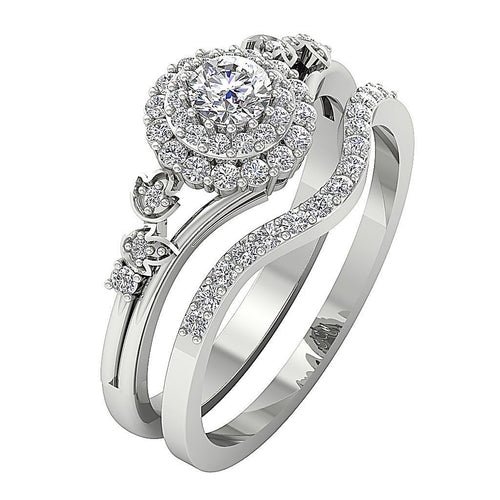14K White Gold Split Shank Designer Wedding Ring-CR-203