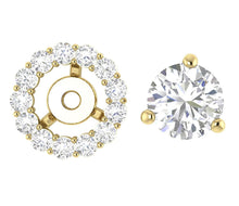 Load image into Gallery viewer, Removable Jacket Halo Studs Earrings Gold Prong Set-E-708-7
