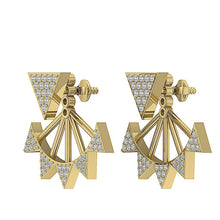 Load image into Gallery viewer, 14k/18k Solid Gold Natural Diamonds I1 H 0.55 Ct Removable Jacket Studs Earrings Prong Set 20.88MM