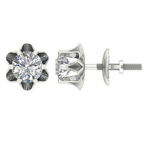 Load image into Gallery viewer, Side And Front View Diamonds Earrings-DE191