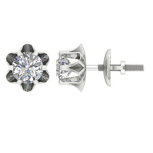 Side And Front View Diamonds Earrings-DE191