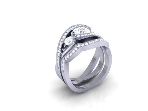 14K White Gold Three Stone Designer Wedding Ring Natural Diamond-CR-172