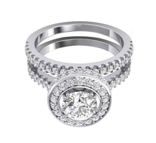 Load image into Gallery viewer, 14k Solid Gold Top View Diamond Bridal Ring Set