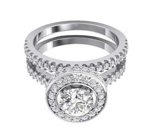 14k Solid Gold Top View Diamond Bridal Ring Set