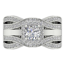 Load image into Gallery viewer, Round Diamond Bridal Ring Set Top View