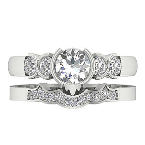 Natural Diamond Bridal Ring Set Top View