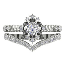 Load image into Gallery viewer, Genuine Diamond Bridal Ring Set Top View