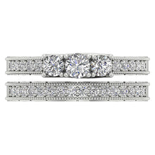 Load image into Gallery viewer, Natural Diamond Bridal Ring Set Top View