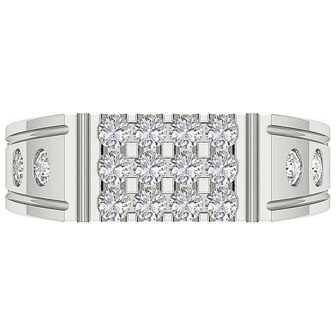 Natural Diamond Mens Ring Top View