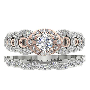 Round Diamond Bridal Ring Set Top View