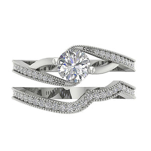 Genuine Diamond Bridal Ring Set Top View