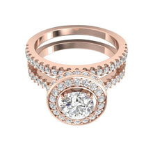Load image into Gallery viewer, Diamond Bridal Ring Set Top View 14k Rose Gold