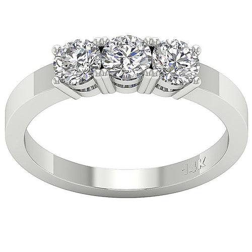 Top View 3 Stone Engagement Ring Gift-DTR125-TR-109D