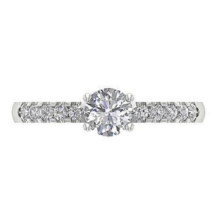 Top View Accent With Solitaire Diamond RingK White Gold-DSR131