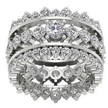 Load image into Gallery viewer, Top View 14k White Gold Designer Eternity Ring Set-CR-194