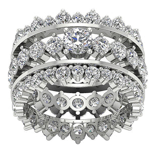 Top View 14k White Gold Designer Eternity Ring Set-CR-194