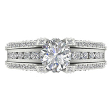 Load image into Gallery viewer, Top View Round Diamond Bridal Ring Set-DCR109