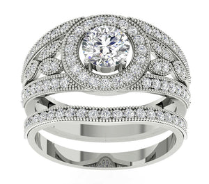 Designer Halo Engagement Ring Round Cut Diamond I1 G 1.75 Ct