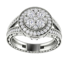 Load image into Gallery viewer, I1 G 1.10 Ct Prong Set Baguette Round Cut Diamond 11.25MM Designer Halo Solitaire Anniversary Ring
