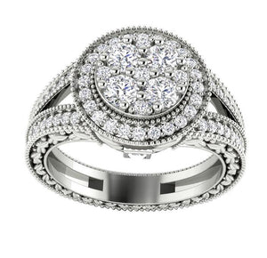 I1 G 1.10 Ct Prong Set Baguette Round Cut Diamond 11.25MM Designer Halo Solitaire Anniversary Ring