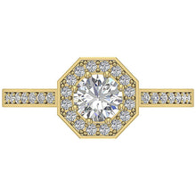 Load image into Gallery viewer, Top View Halo Solitaire Ring Yellow Gold 14K-DSR232