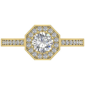Top View Halo Solitaire Ring Yellow Gold 14K-DSR232