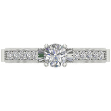 Load image into Gallery viewer, Top View Solitaire Round Diamond Ring 14K Prong Set-DSR199