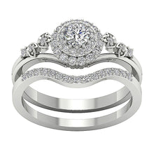 Load image into Gallery viewer, 14K White Gpld Top View Split Shank Designer Bridal Ring Set-DCR113-0.75CT