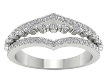 Load image into Gallery viewer, Anniversary Ring White Gold Round Diamond Cut Curved Band