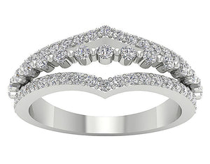 Anniversary Ring White Gold Round Diamond Cut Curved Band