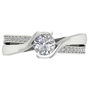 Top View Prong Set Diamond Solitaire Ring-DSR608-5