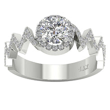 Load image into Gallery viewer, Top View Halo Round Diamond Engagement Ring 14K Gold-SR-1147