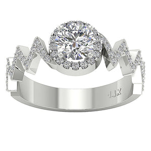 Top View Halo Round Diamond Engagement Ring 14K Gold-SR-1147