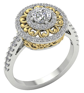 Designer Solitaire Wedding Ring 14k Two-Tone Gold-SR-927-4