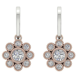 Halo Bezel Set Earrings-DE108
