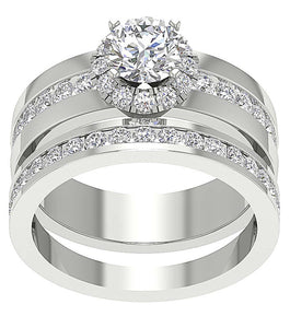 Genuine Diamond Bridal Ring Set 14k White Gold