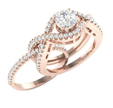 Load image into Gallery viewer, 14k Rose Gold Antique Style Bridal Ring Set