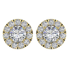 Load image into Gallery viewer, Halo Solitaire Studs Earring Set 14k Gold