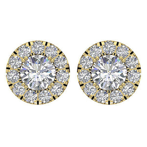Halo Solitaire Studs Earring Set 14k Gold