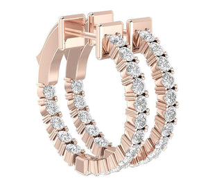 Wedding Earring Prong Set 14k Rose Gold
