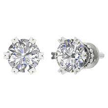 Load image into Gallery viewer, 14k White Gold Solitaire Studs Earring Set