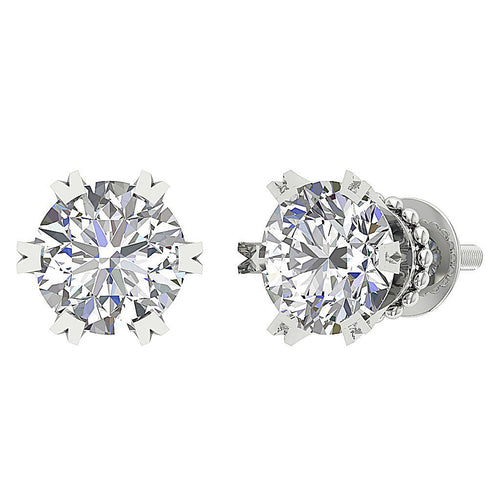 14k White Gold Solitaire Studs Earring Set