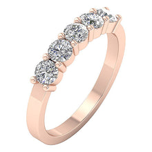 Load image into Gallery viewer, Round Diamond Five Stone Ring 14k Rose Gold