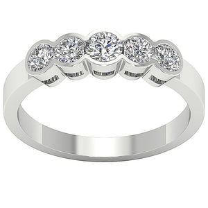 Round Diamond Five Stone Ring 14k Gold