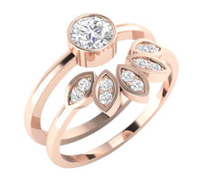 Load image into Gallery viewer, 14k Rose Gold Vintage Style Bridal Ring Set