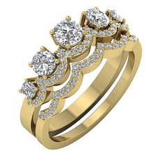 Load image into Gallery viewer, 14k Yellow Gold Vintage Style Bridal Ring Set