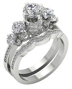 14k White Gold Antique Style Bridal Ring Set