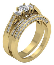 Load image into Gallery viewer, Side View 14k Solid Gold Bridal Ring Set