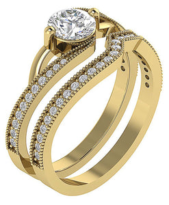 Genuine Diamond Ring Set 14k Yellow Gold