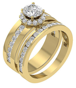 Halo Bridal Ring Set 14k Yellow Gold